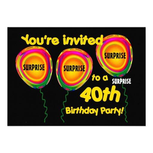 40th SURPRISE Birthday Party Invitation Balloons