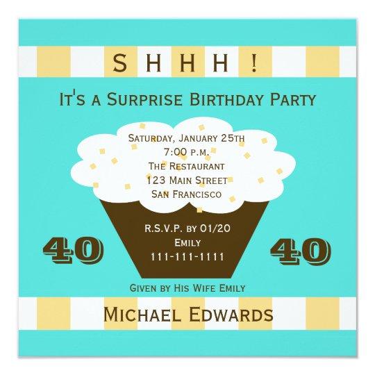 40th Surprise Birthday Party Invitation Cupcake