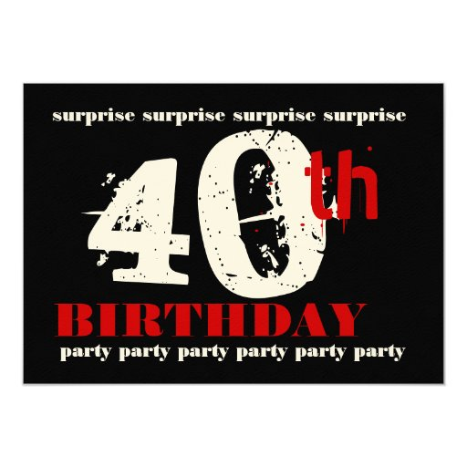 40th surprise birthday party invitation template zazzle. Black Bedroom Furniture Sets. Home Design Ideas