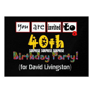 40th SURPRISE Birthday Party Invitation Template