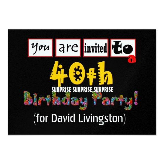 40th Surprise Birthday Party Invitation Template Zazzle Com
