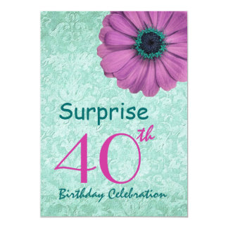 40th SURPRISE Birthday Party Pink and Teal Daisy 5x7 Paper Invitation Card