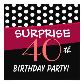 40th Surprise Birthday Party Polka Dot Pattern 5.25x5.25 Square Paper Invitation Card