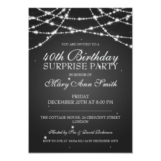 40th Surprise Birthday Party String Stars Black Card