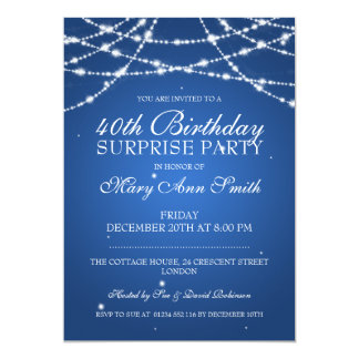 40th Surprise Birthday Party String Stars Blue Card