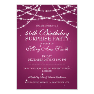 40th Surprise Birthday Party String Stars Pink Card