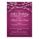 40th Surprise Birthday Party String Stars Pink Custom Invitation