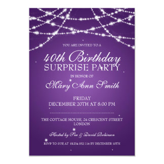40th Surprise Birthday Party String Stars Purple Card