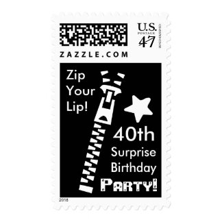40th SURPRISE Birthday Party Zip Your Lip Postage Stamp