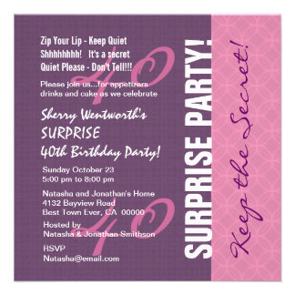 40th SURPRISE Birthday Purple and Pink Pattern Custom Announcement
