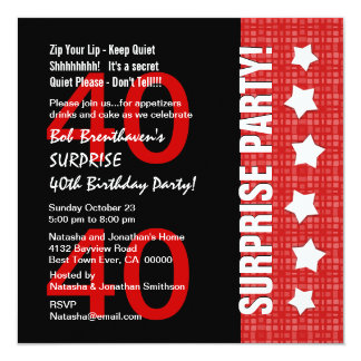 40th Surprise Birthday Red Black with Stars E40B Invitation
