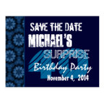 40th Surprise Birthday Save the Date Blue Pattern Post Cards
