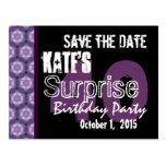 40th Surprise Birthday Save the Date Purple Black Postcards