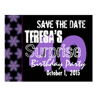 40th Surprise Birthday Save the Date Purple Black Postcard