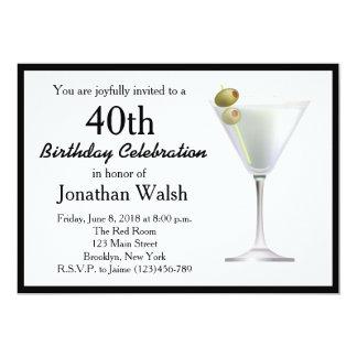 40th Surprise Martini Birthday Invitation