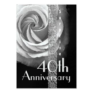 40th SURPRISE Wedding Anniversary SILVER Rose 5x7 Paper Invitation Card