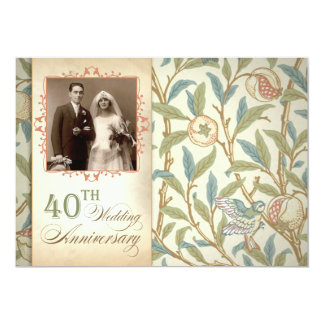 40th vintage anniversary invitations with photo