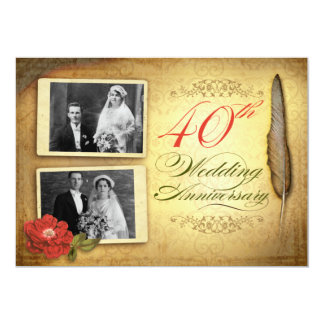 40th vintage anniversary invitations with photos
