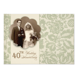 40th vintage anniversary photo invitations