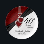 "40th Wedding Anniversary Beautiful Keepsake Porcelain Plate<br><div class=""desc"">40th, 52nd or 80th Ruby Wedding Anniversary Keepsake Design Plate. 100% Customizable. Ready to Fill in the box(es) or Click on the CUSTOMIZE button to add, move, delete or change any of the text or graphics. Made with high resolution vector and/or digital graphics for a professional print. NOTE: (THIS IS...</div>"