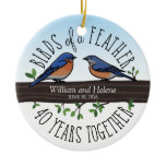 40th Wedding Anniversary, Bluebirds of a Feather Ceramic Ornament