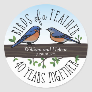 40th Wedding Anniversary, Bluebirds of a Feather Classic Round Sticker