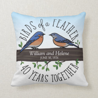 40th Wedding Anniversary, Bluebirds of a Feather Throw Pillow