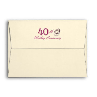 40th Wedding Anniversary Customizable Envelopes