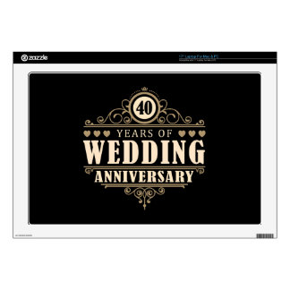 """40th Wedding Anniversary Decal For 17"""" Laptop"""