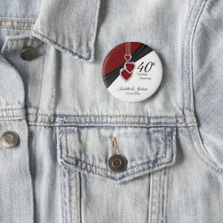 40th Wedding Anniversary Design Pinback Button