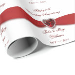 """40th Wedding Anniversary Design Wrapping Paper<br><div class=""""desc"""">A Digitalbcon Images Design featuring a ruby red and white color design theme with a variety of custom images, shapes, patterns, styles and fonts in this one-of-a-kind &quot;Damask 40th Wedding Anniversary Design&quot;. With this attractive and elegant design you&#39;ll have all your decorations, gift ideas and party favors all coordinated for...</div>"""