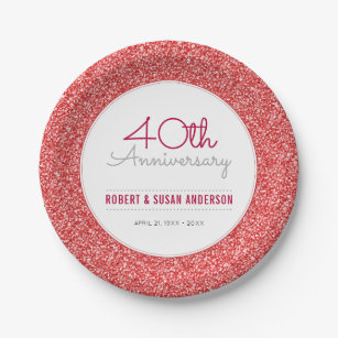 40th Wedding Anniversary Faux Red Glitter Paper Plate  sc 1 st  Zazzle & 40th Anniversary Plates | Zazzle