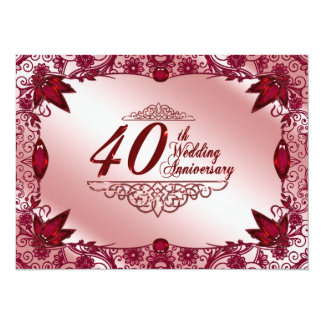 "40th Wedding Anniversary Invitation 5.5"" X 7.5"" Invitation Card"