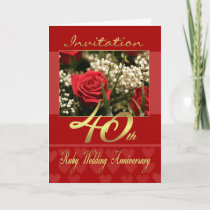 40th wedding anniversary invitation card - ruby we