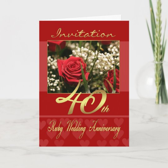 40th Wedding Anniversary Invitation Card Ruby We