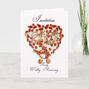 Ruby red anniversary cards greeting photo cards zazzle 40th wedding anniversary invitation card ruby we stopboris Choice Image