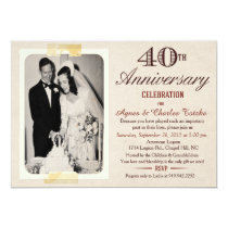 40th Wedding Anniversary Invitation - Custom Photo