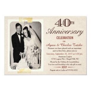 Marvelous 40th Wedding Anniversary Invitation   Custom Photo