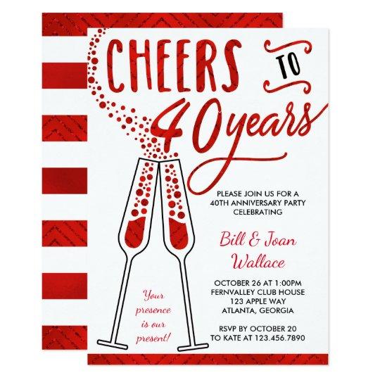 40th Wedding Anniversary Invitation Faux Glitter Card