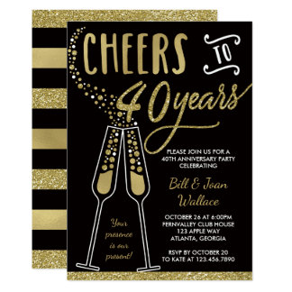 40th Wedding Anniversary Invitation, Faux Glitter Invitation
