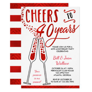 40th anniversary wedding invitations zazzle