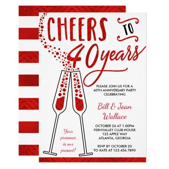 40th Wedding Anniversary Invitation Faux Glitter Invitation