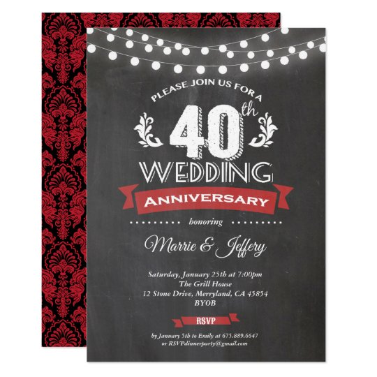 40th Wedding Anniversary.40th Wedding Anniversary Invitation Ruby Red Invitation