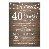 40th Wedding Anniversary Invitation Rustic Wood