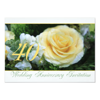 40th Wedding Anniversary Invitation - Yellow Rose