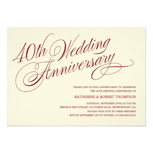 40th Wedding Anniversary Invitations (front side)