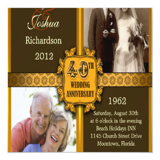 40th wedding anniversary invitations with photos