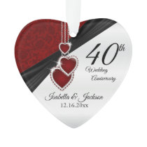 40th Wedding Anniversary Keepsake Design Ornament