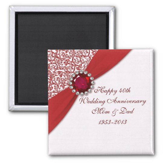 40th Wedding Anniversary Gift Ideas For Friends: 40th Wedding Anniversary Magnet