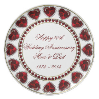 40th Wedding Anniversary Melamine Plate at Zazzle